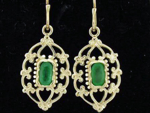 E069 Genuine 9ct Solid Gold NATURAL Emerald Drop Earrings Filigree ornate Drops