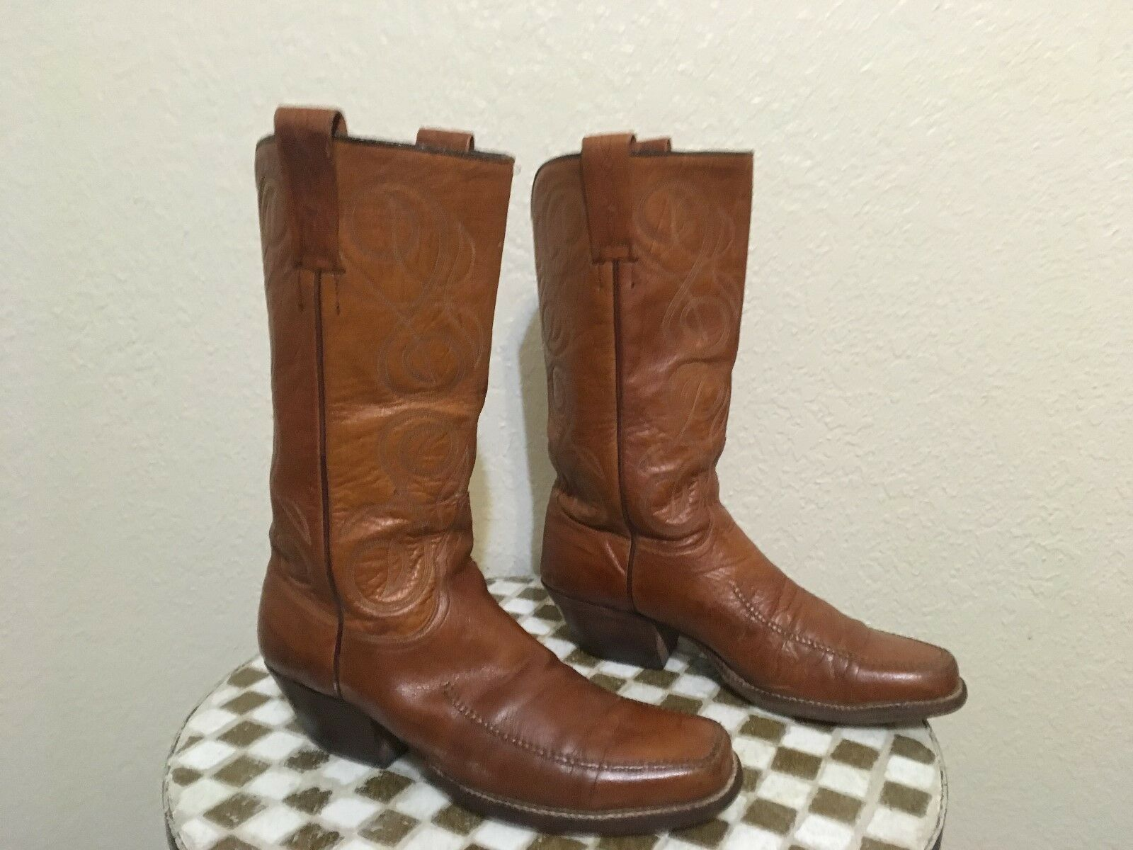 USA BROWN VTG LUCCHESE WESTERN COWBOY DANCE RODEO BOOTS 8 D