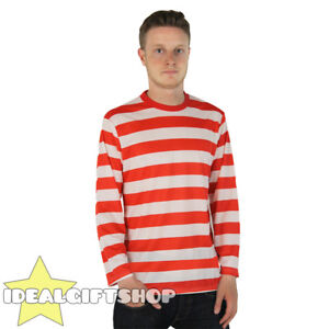 STRIPED T SHIRT TOP BLACK AND WHITE FANCY DRESS LONG SLEEVE 100/% COTTON S-XXL