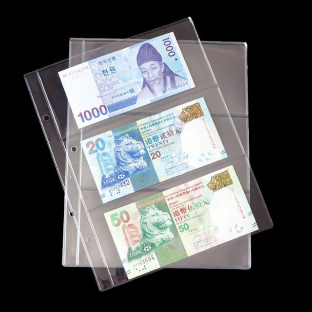 Album Pages 3 Pockets Money Bill Note Currency Holder PVC Collection 1 Sheet ME