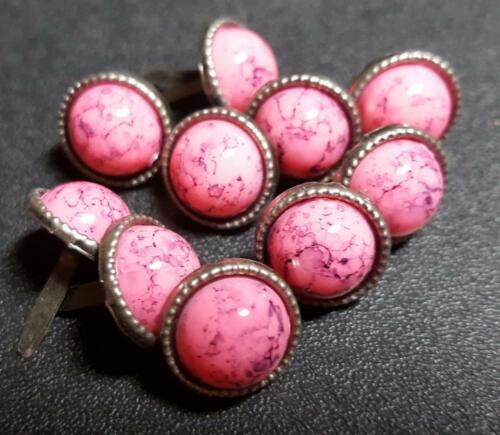 Pack of 10 12mm Metal Round Brads with 10mm Pink Pearl Veined Bead
