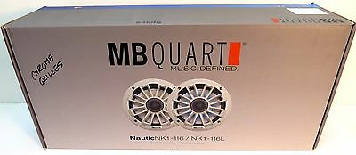 "NEW MB Quart Nautic Marine Speakers NK1-116 6.5"" Chrome Grill Pair 120W"