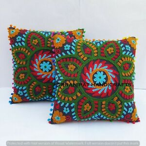 Set of 2 suzani 16 x 16 Hand embroidered Sofa Cushion Cover throw Pillow cases