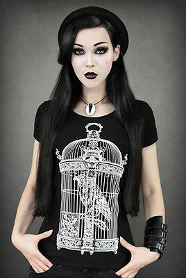 Restyle T-Shirt Rabe Käfig Gothic Victorian Raven Crow Fantasy Steampunk RS18