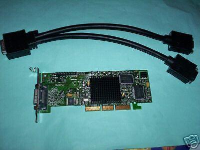 MATROX G550 Dual Monitors Low Profile AGP card + cable