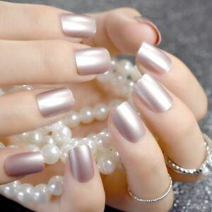 mirror silver short false nails stiletto point metallic