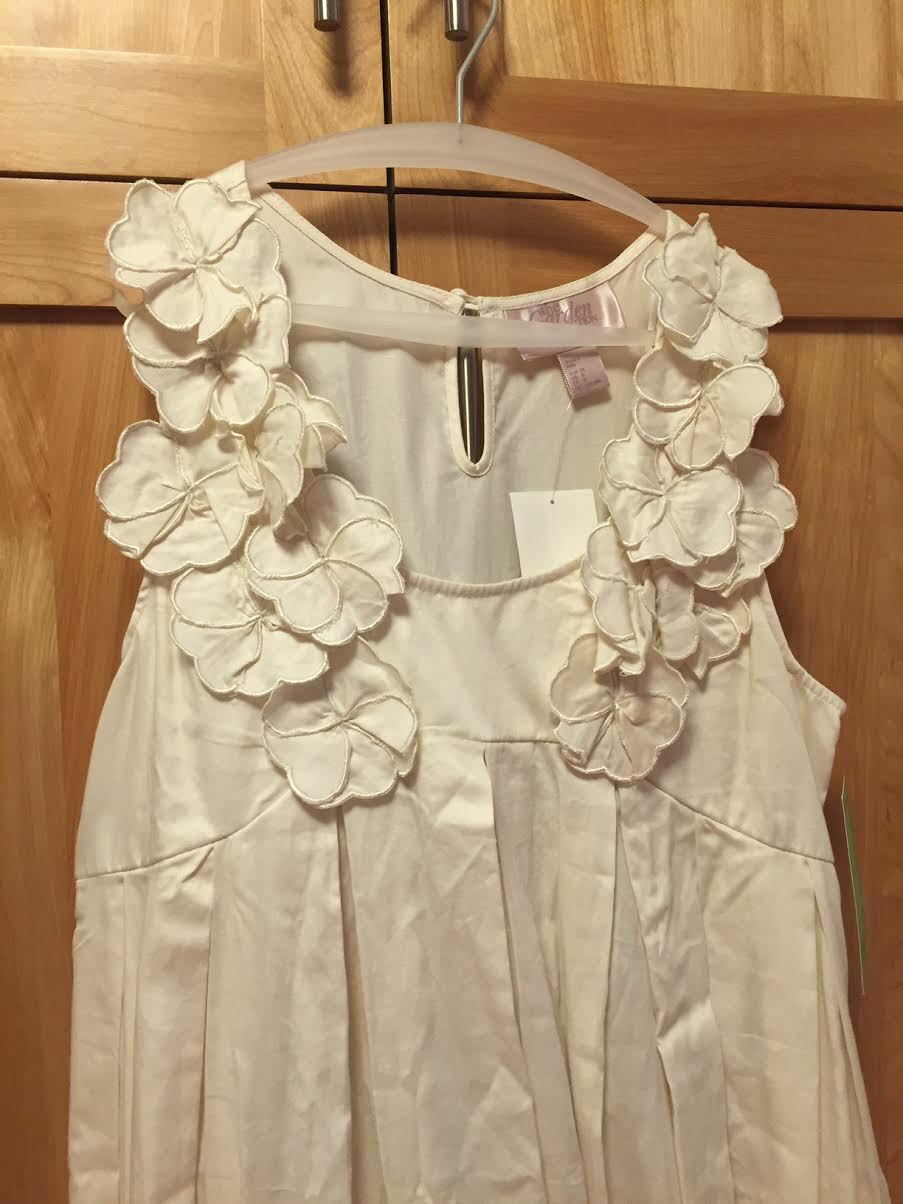 H&M GARDEN COLLECTION, 100% Cotton, Ivory with Flowers, Sleeveless, Size 8, NEW