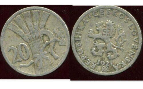 CZECH REPUBLIQUE  TCHECOSLOVAQUIE  20 HALERU 1921 etat