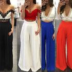 Women Fashion Loose High Waist Wide Leg Palazzo Pants Pleated Seethroug Trousers