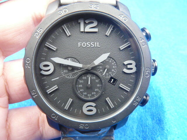 New Old Stock Fossil Nate Jr1401 Chronograph Stainless Steel Quartz Men Watch Jewelry & Watches Watches, Parts & Accessories