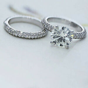 2.44 Ct Certified Moissanite Engagement Band Set Solid 18K White Gold Size 5 6