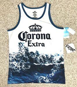 new-CORONA-EXTRA-BEER-TANK-TOP-white-blue-water-splash-big-logo-beach-shirt-mens