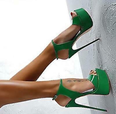 Womens Stilettos Platform Super High Heel Casual Open Toe Sandal Slingback Shoes