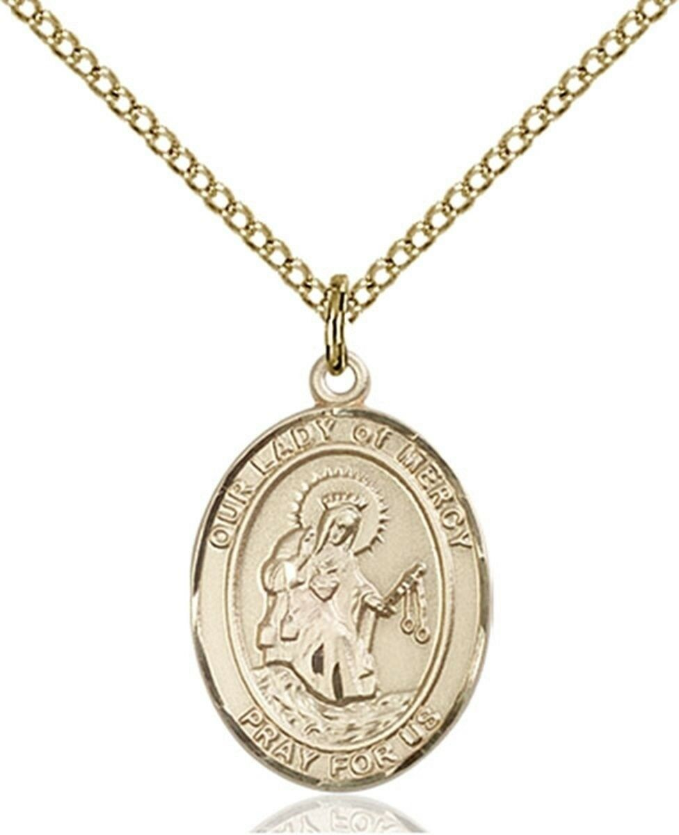 14KT gold Filled Our Lady of Mercy Medal Pendant, 3 4 Inch