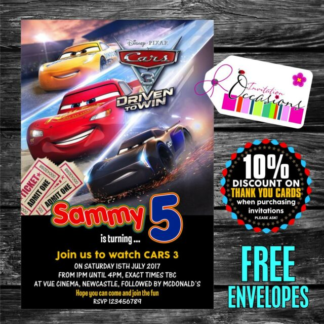 Personalised Birthday Invitations Cars 3 Cinema Party X 5