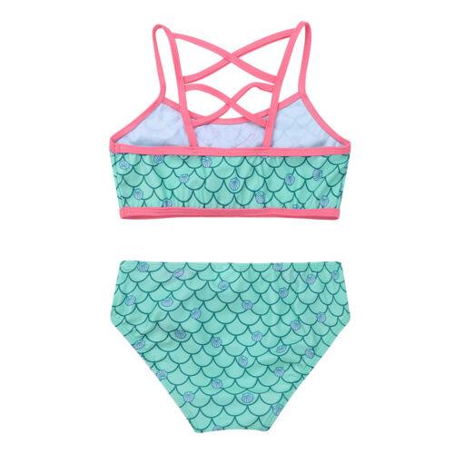 Toddler Girl Kid Mermaid Swimwear Tankini Bikini Swimsuit Bathing Suit Beachwear