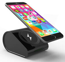 BLACK QI WIRELESS CHARGER PAD STAND 10400mAh PORTABLE POWER BANK FOR CELL PHONE