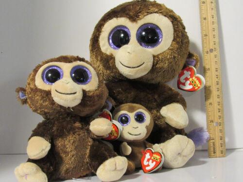 3 pc Lot SET TY  Coconut the Chimp Monkey BEANIE BOOS buddy M /& Reg Boo /& Clip