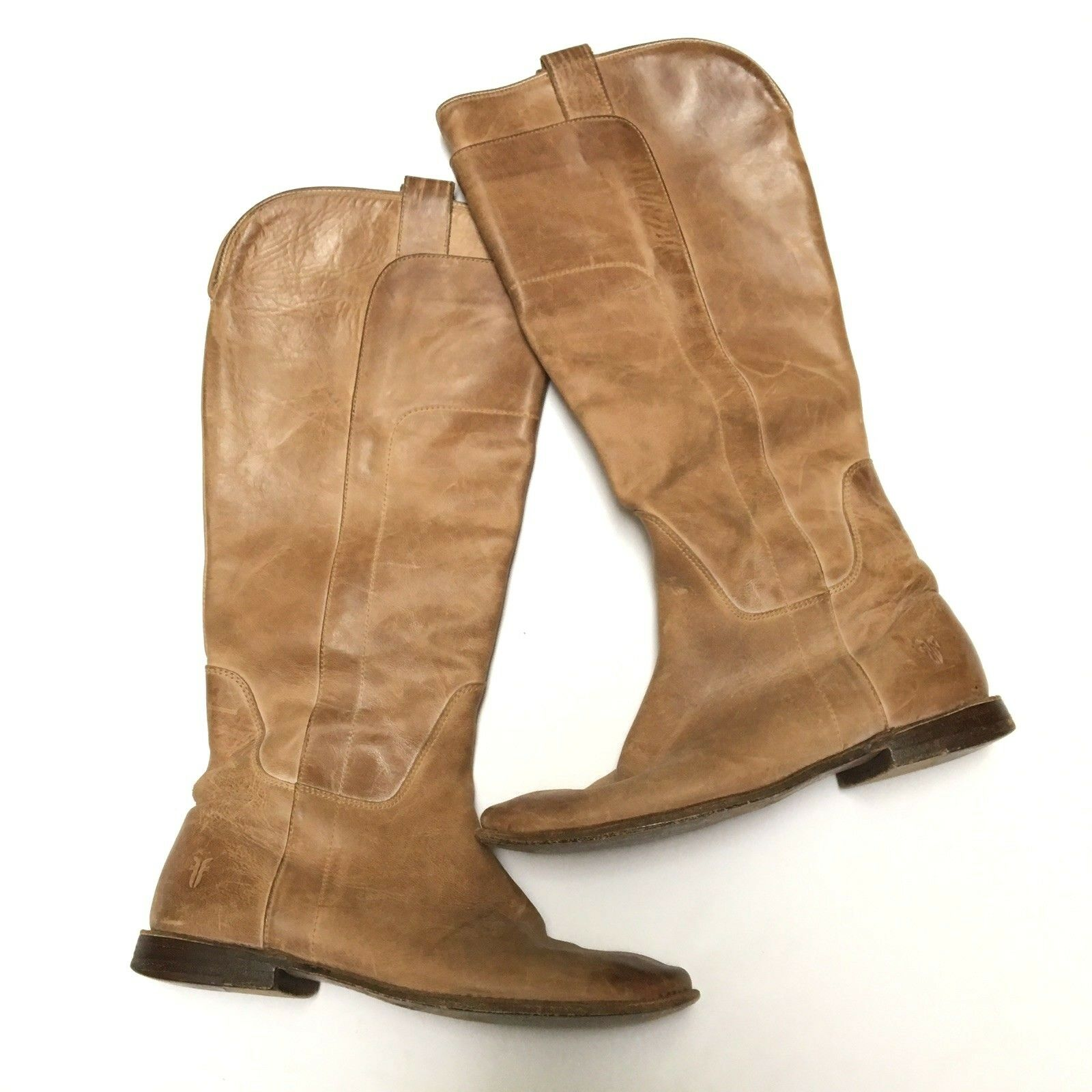 Frye Size 9 Tan Brown Antiqued Distressed Leather Paige Tall Riding Boots 4003