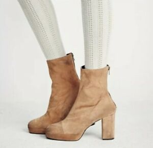 924c31854 Free People Day For Night Suede Tan Camel Platform Ankle Boots Size ...