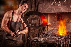 Blacksmith-Fire-Iron-Coal-Glow-Oven-Heat-Embers-CANVAS-WALL-ART-034-20x30-034-inches