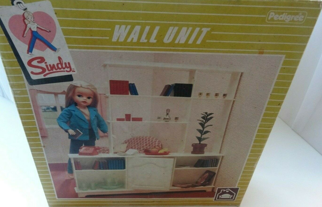 VINTAGE PEDIGREE SINDY BOXED 1983 WALL UNIT ROOM DIVIDER & ACCESSORIES