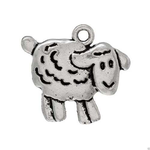Colgante tibetano plata mezclada animal tema encantos ovejas oso