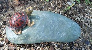 "NEW latex /plastic backup realistic turtle on rock mold 8""L x 4""W x 3""H"