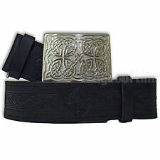 GENUINE REAL LEATHER EMBOSSED SCOTTISH KILT BELT & CHROME CELTIC BUCKLE 30-48