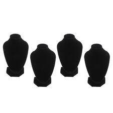 Set Of 4 Black Velvet Necklace Bust Display Shop Jewelry Figure Stands Rack