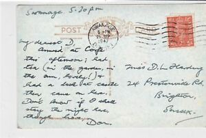 great britain 1947 swanage cancel corfe castle + village  stamps card ref 21358