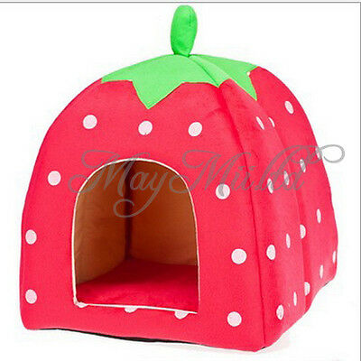 Hot Warm Winter Cute Strawberry Dog/Cat Pet Waterloo Lovely Dots Pets Bed G