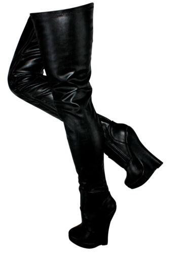 Erogance Kunstleder Wedge High Heels Crotch Overknees Gr 37-46 NEU 5072 Schwarz