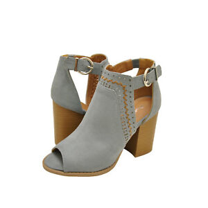 34bba693ccc Womens Shoes Qupid Brammer 29 Peep Toe Perforated Booties Sea Grey ...
