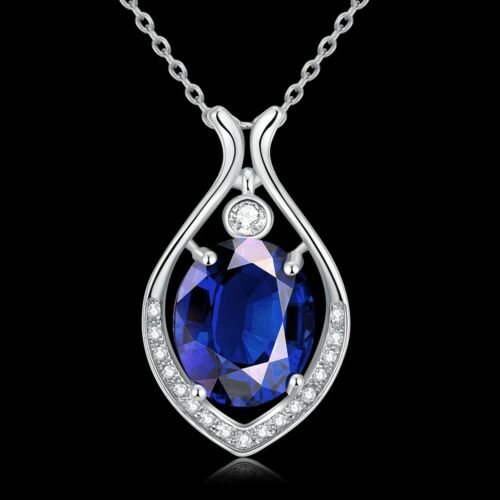18K White Gold Plated Created BLUE Sapphire Trinity Knot Teardrop Necklace