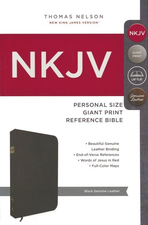 Nkjv Personal Size Giant Print Reference Bible Black Genuine Leather For Sale Online Ebay