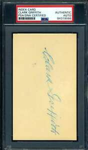 Clark Griffith PSA DNA Coa Autograph Hand Signed 3x5 Index Card