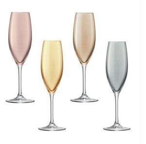 LSA-Polka-Champagne-Flutes-new-boxed-set-4-handpainted-metallics-225ml