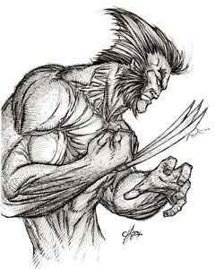 "Original, black and white, comic art, sketch, drawing, Logan ""Wolverine"""