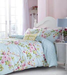 rose-rose-bleue-imprime-floral-Melange-de-coton-taille-SUPER-KINGreversible