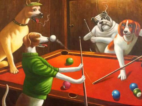Reprint For Dogs Playing Pool Art Fabric Poster Print Home Wall Decor Multi