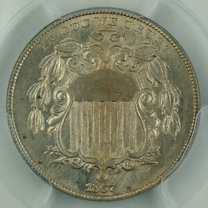 1867-No-Rays-Shield-Nickel-5c-Coin-PCGS-MS-63-Well-Struck-Better-Coin-GBr