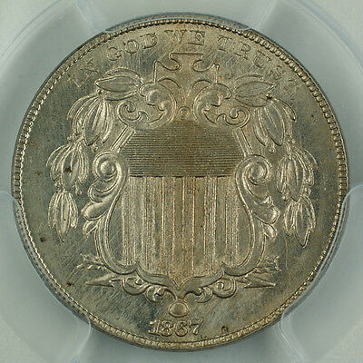 1867 Shield Nickel No Rays PCGS AU50