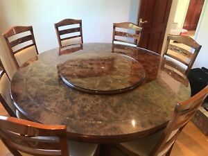 150cm Round Italian Dining Table With Lazy Susan And Glass
