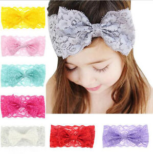 7PCS-Baby-Girls-Kids-Lace-Bow-Headband-Hairband-Stretch-Head-Band-Accessories