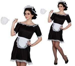 French maid costume black white waitress fancy dress outfit sizes 6 image is loading french maid costume black white waitress fancy dress solutioingenieria Gallery