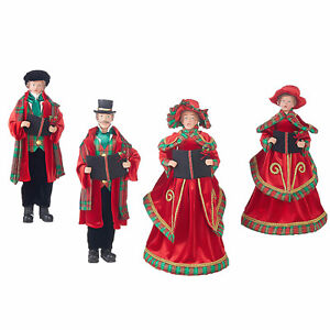 Set-4-18-034-Red-Green-Christmas-Caroler-Figurines-Dickens-Retro-Vntg-Style-Decor