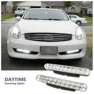 2X-12V-8-LED-Daytime-Running-Lights-DRL-Car-Fog-Lamp-Day-Driving-Universal-White