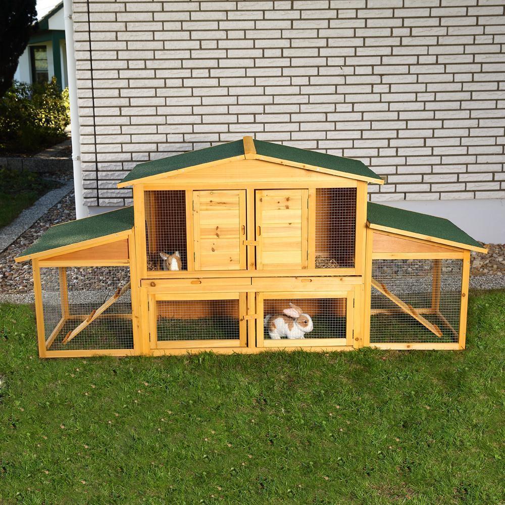 XXL gabbia per lepri conigli piccoli animali pollaio gabbia per conigli recinto libero aperto LEGNO