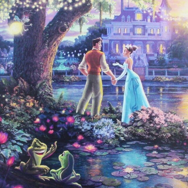 "Thomas Kinkade Gallery Wrap Princess and the Frog 14""x14"" Wrapped Canvas Disney"